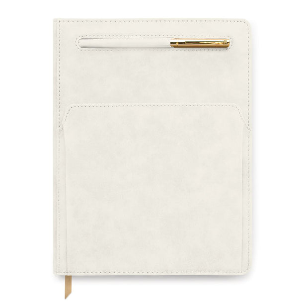 ivory vegan leather undated planner w/ pen and pocket