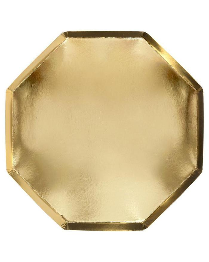 gold large paper octagonal plates