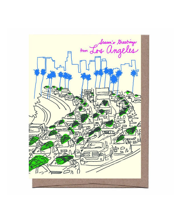 la traffic xmas trees cards - set of 8