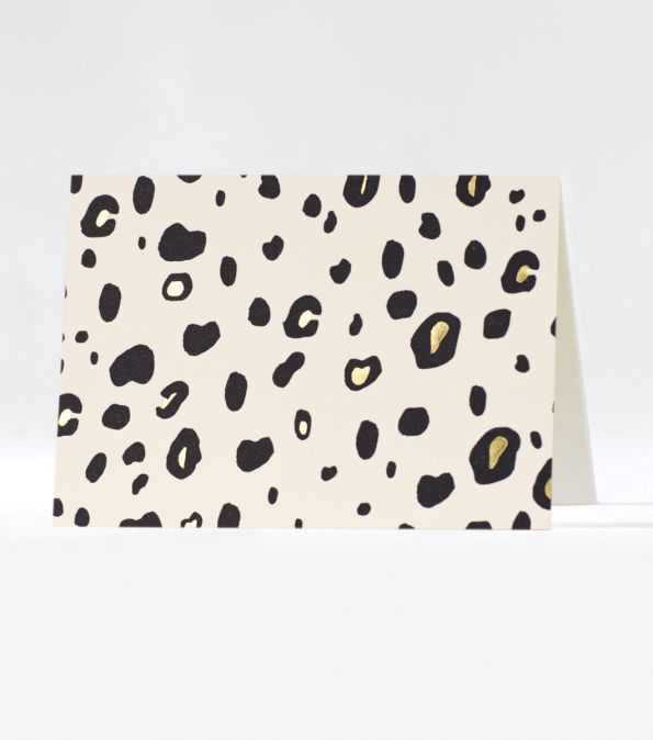 leopard perfect gold foil cards - set of 6