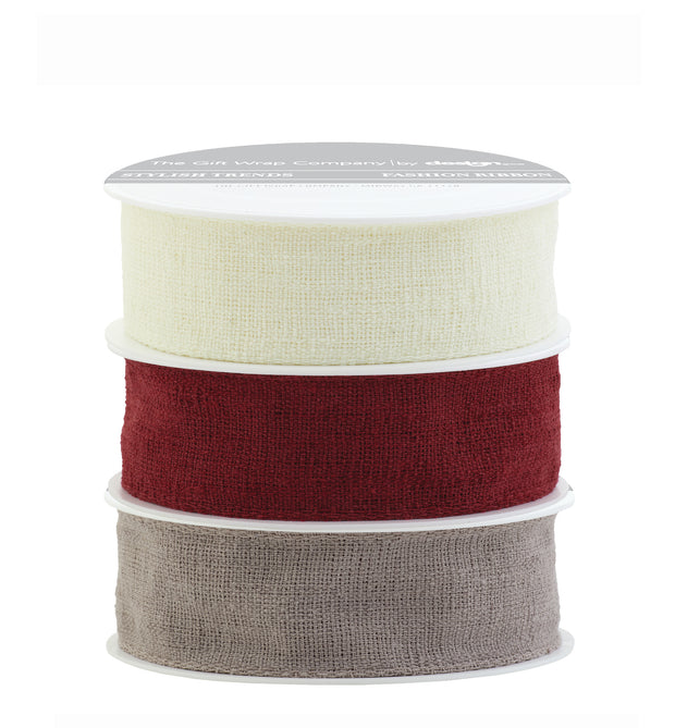"1"" wired linen ribbon - red, cream, & mocha"