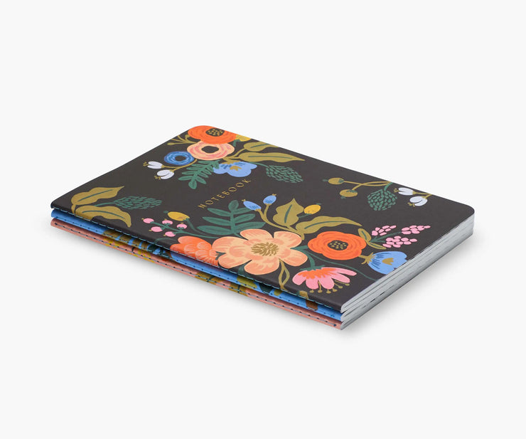 set of 3 assorted lively floral notebooks