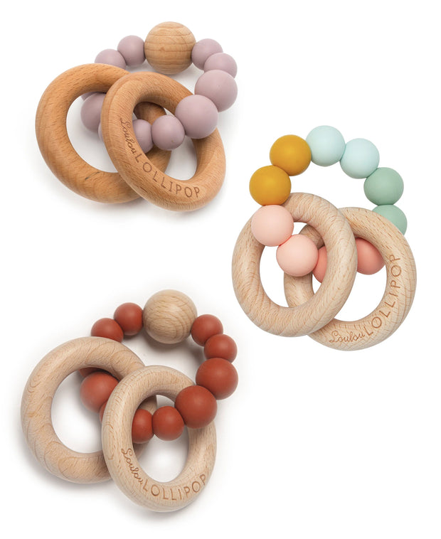 bubble silicone & wood baby teethers