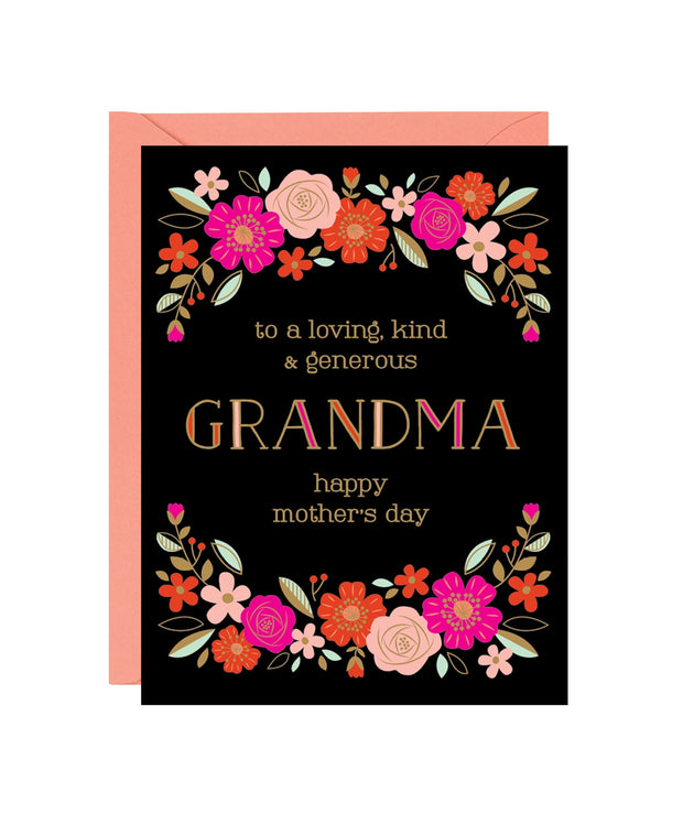 grandma bright floral foil mother's day card