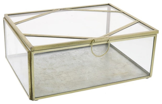 monroe brass & glass rectangle boxes