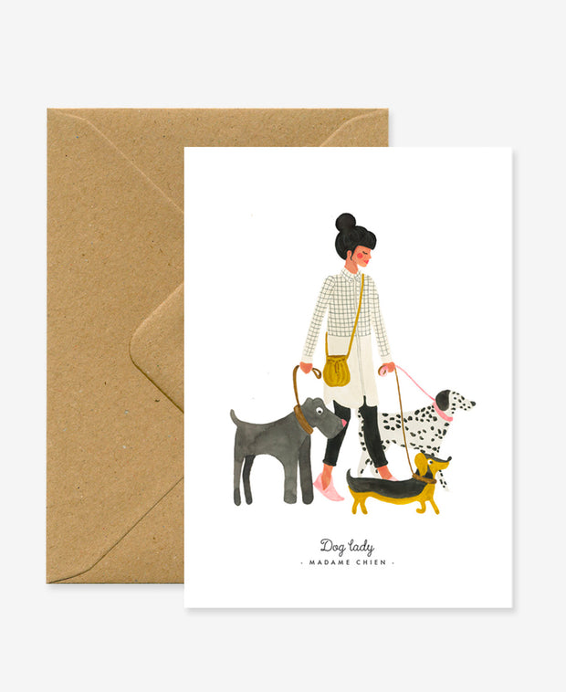 madame chien / dog lady card