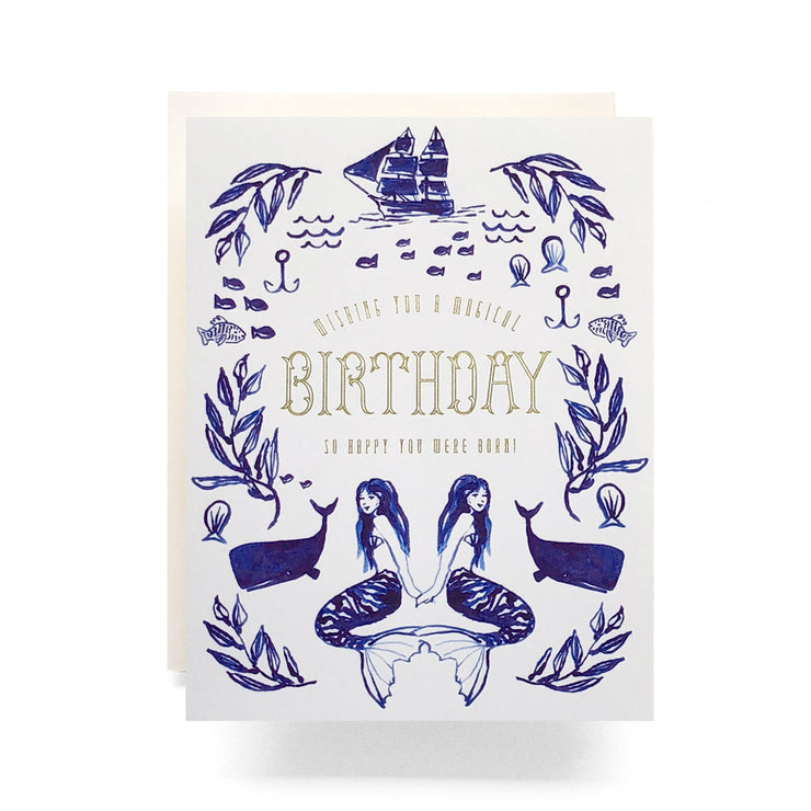 mermaid gold foil birthday card