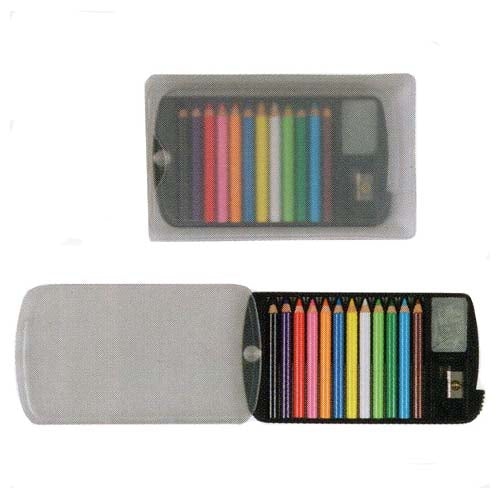 mini colored pencils set in clear case
