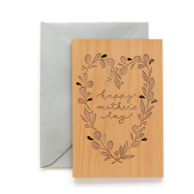 eucalyptus heart wooden mother's day card