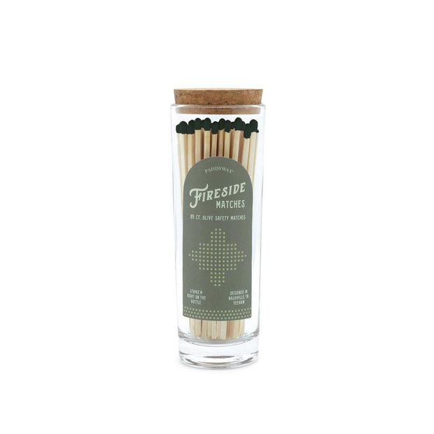 fireside tall safety matches in glass container + cork lid