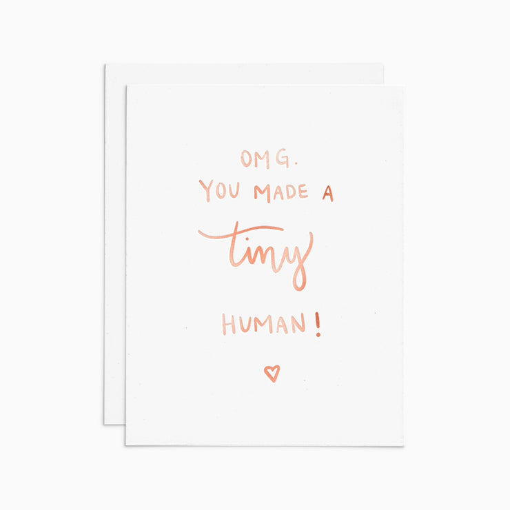 tiny human rose gold foil card