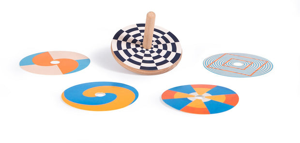 optical illusion wooden spinning top