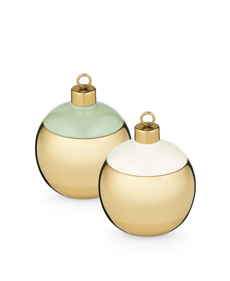 pomander pine & winter mint metal ornament candles