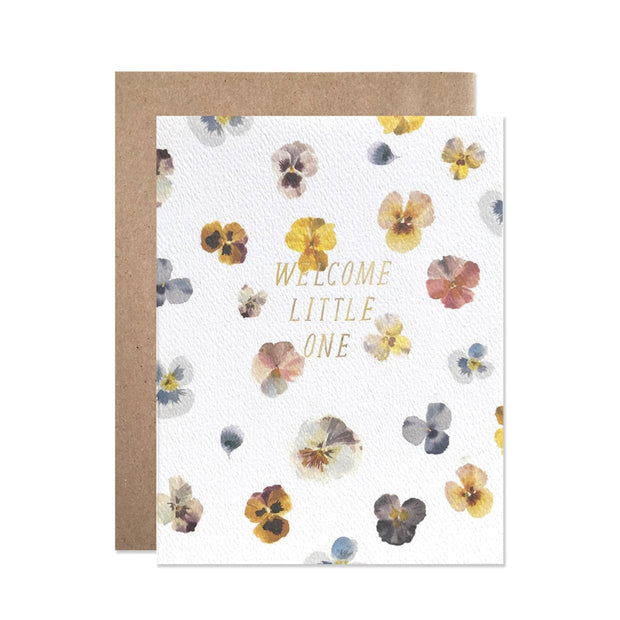 pansies welcome little one card
