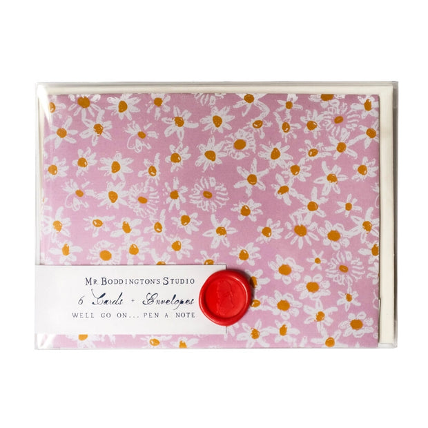 pink daisy fields notecards - set of 6