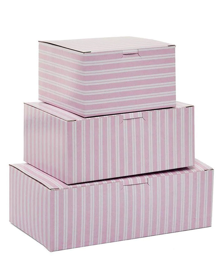 pink and white striped gift boxes