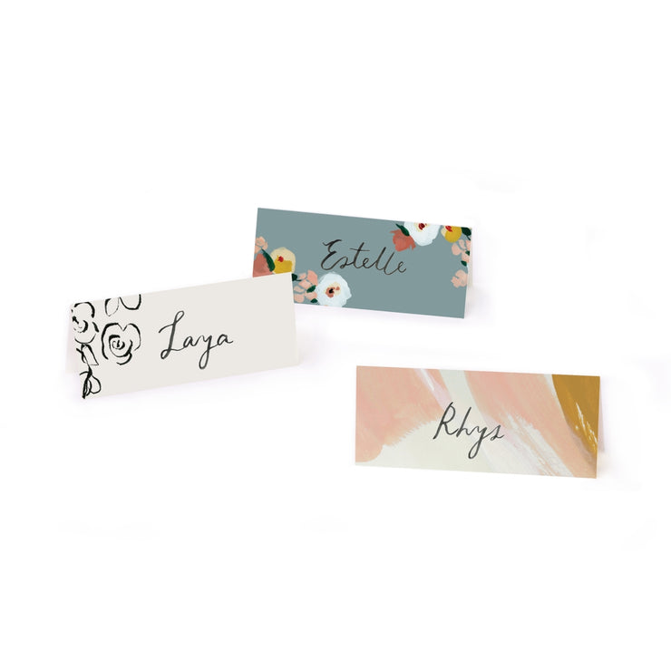 place cards - dusk florals & peach skies