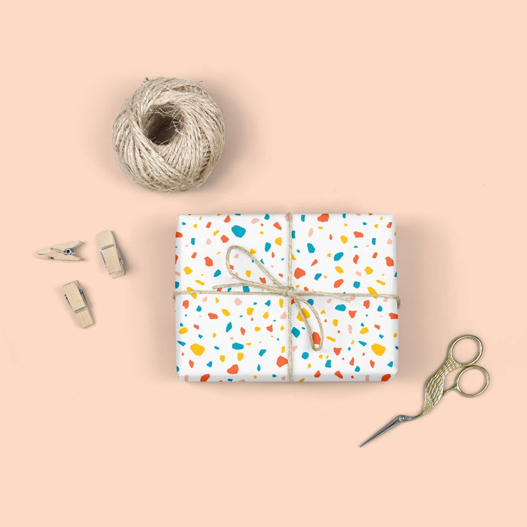 terrazzo white wrap - set of 3 sheets