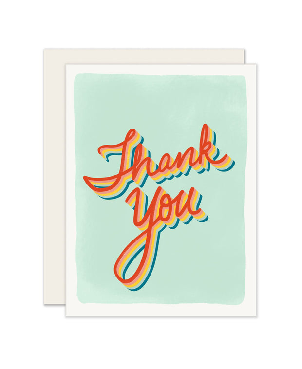 retro thanks card - single or set of 6