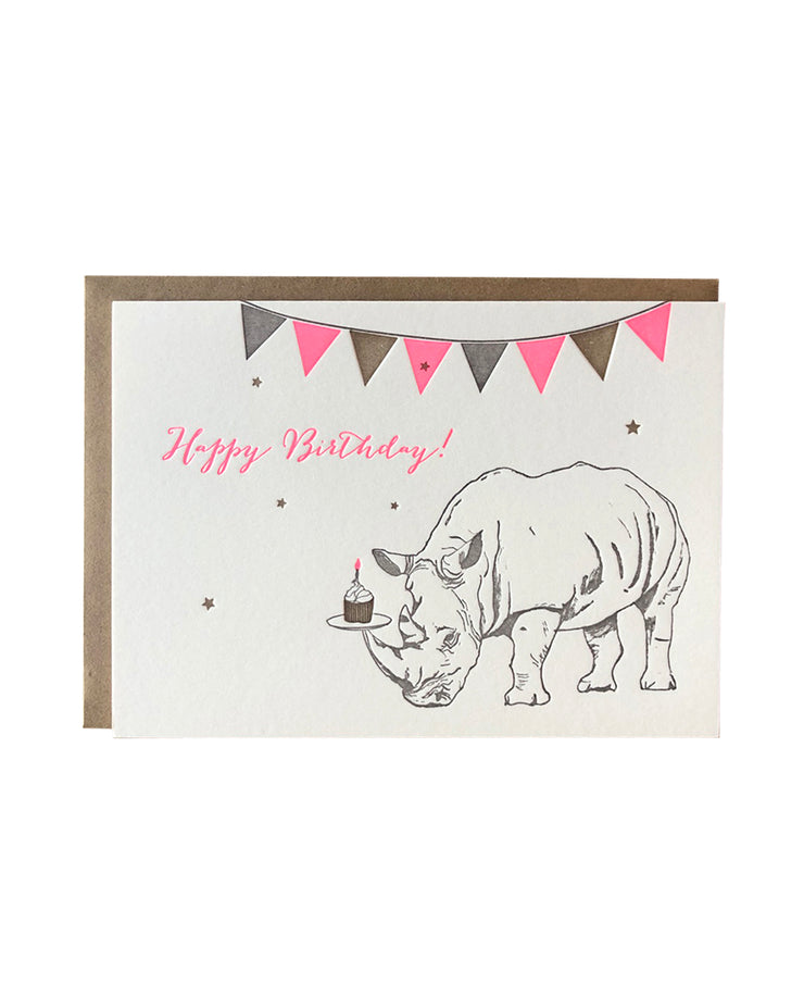 rhino with cupcake birthday card