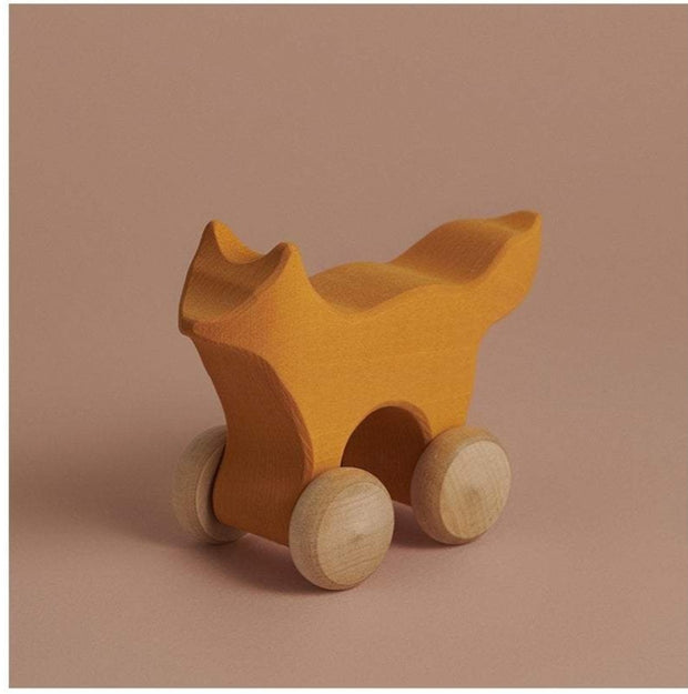 rolling fox wood toy