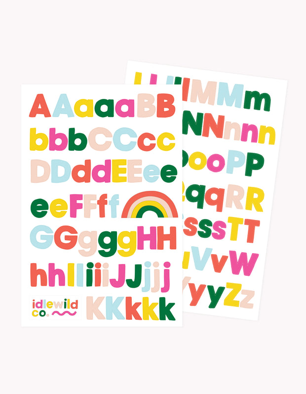 sans brights alphabet stickers