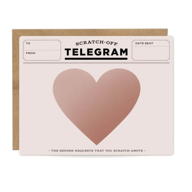 rose gold telegram scratch-off cards - single or set of 6