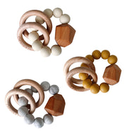 hayes silicone + wood teether rings - various colors