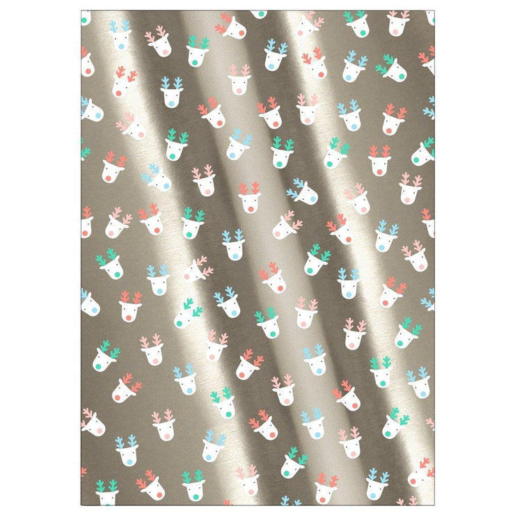 silver reindeer gift wrap roll