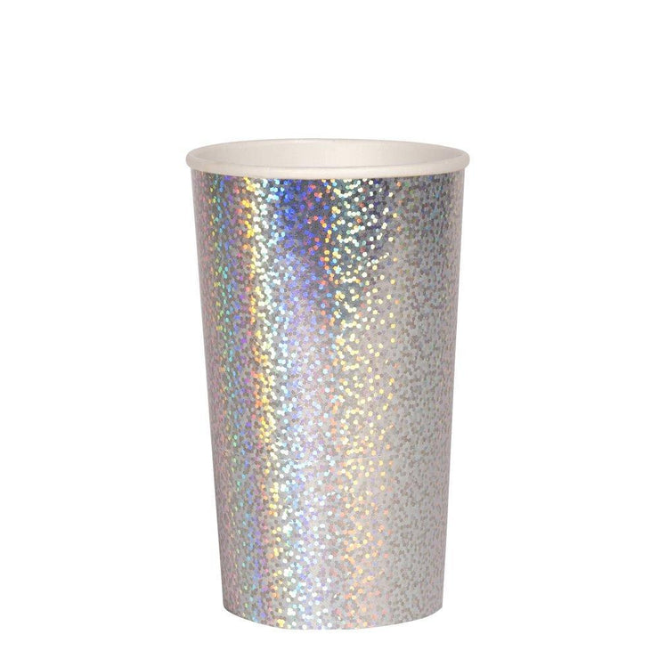 sparkle silver holographic highball cup