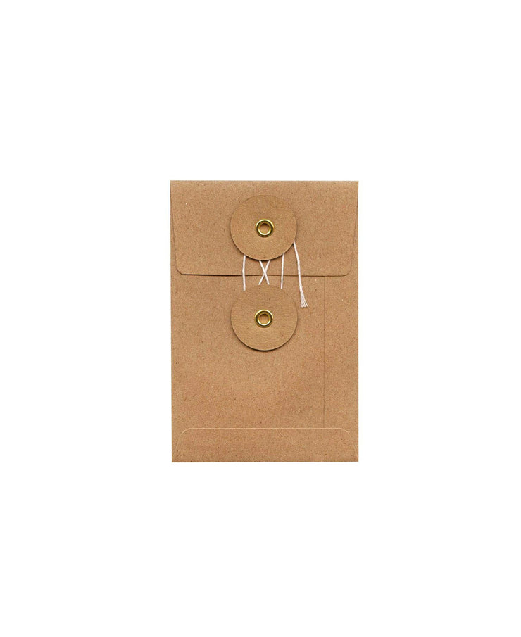 small kraft envelopes w/ string closure - set of 8