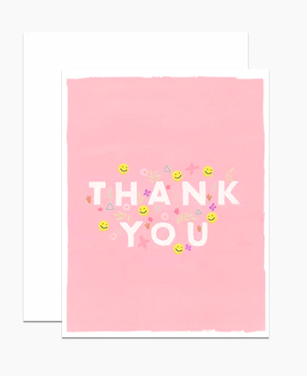 smileys pink thank you - single card or set of 6