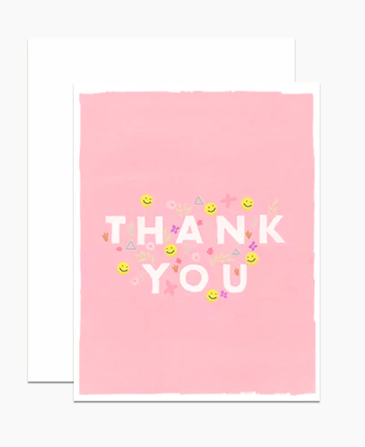 smileys pink thank you card
