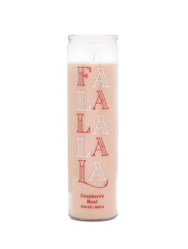 holiday spark 10.6 oz dusty pink falalalala prayer candle