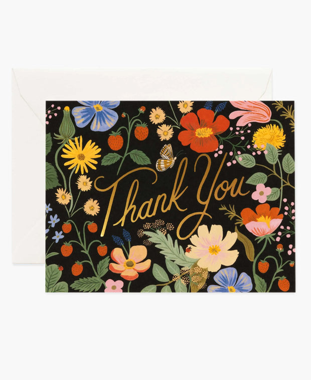 strawberry fields thank you cards - set of 8