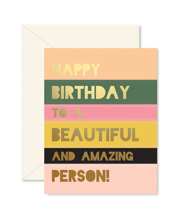 beautiful person colorblock birthday card