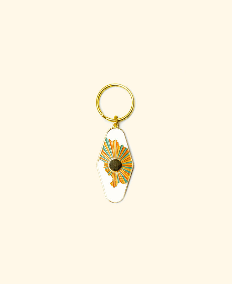 sun and clouds enamel keychain