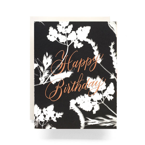 sunprint copper foil birthday card