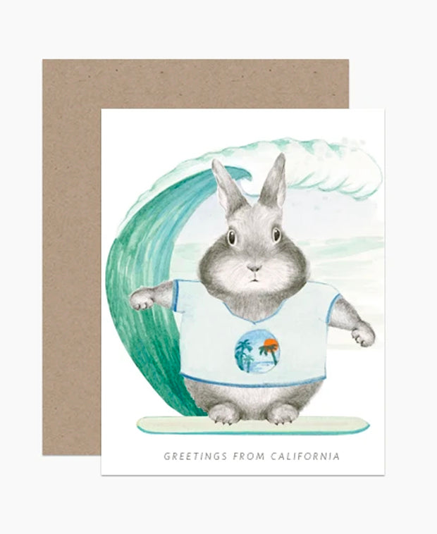 greetings from california surfer card