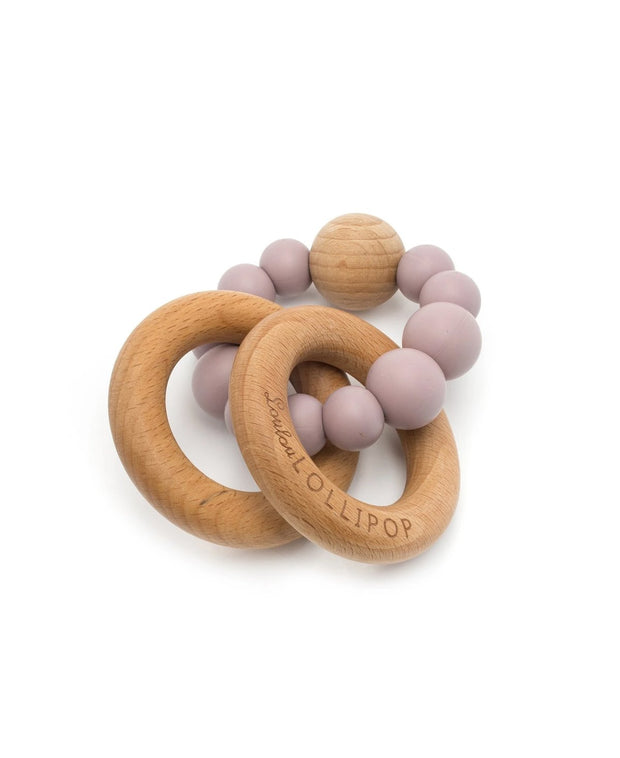bubble silicone & wood baby teether - dusty mauve