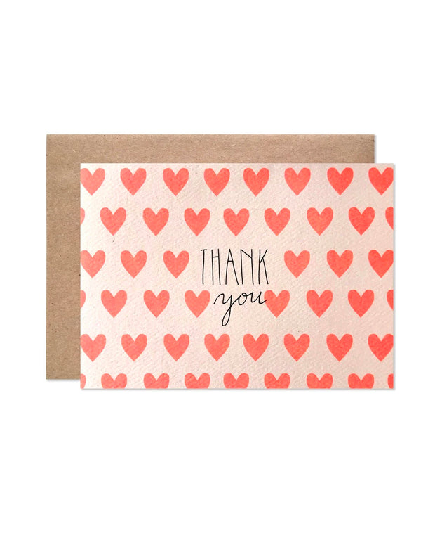 neon hearts thank you cards - set of 8