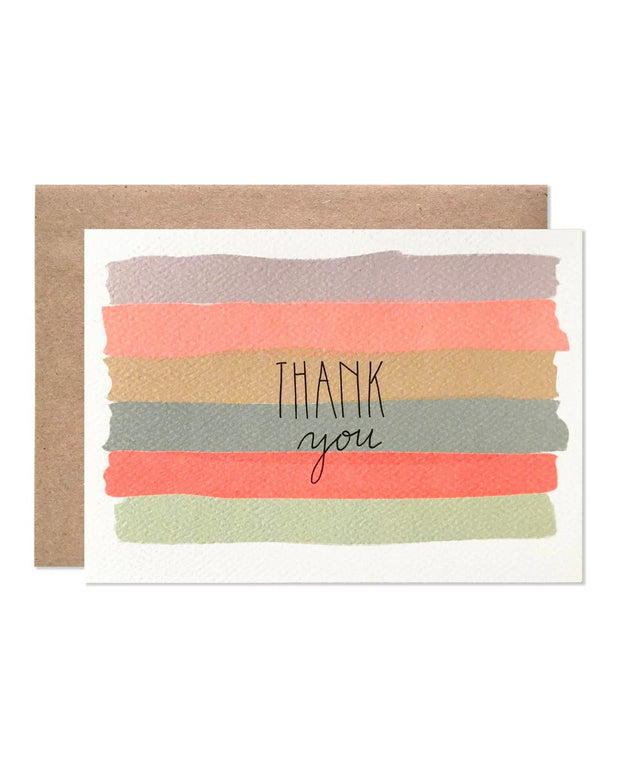 watercolor stripe thank you cards - set of 8