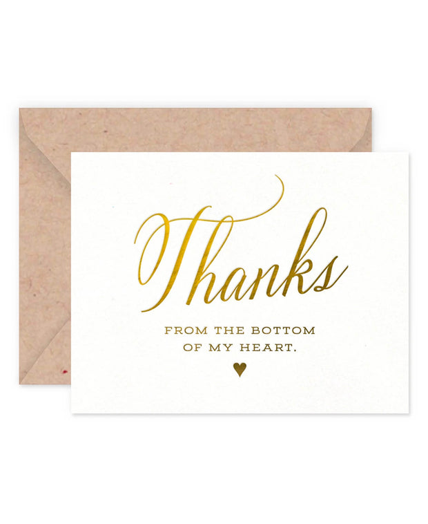 thank you from the bottom of my heart card- sing or set of 6