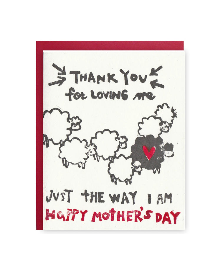 thank you for loving me mother's day card