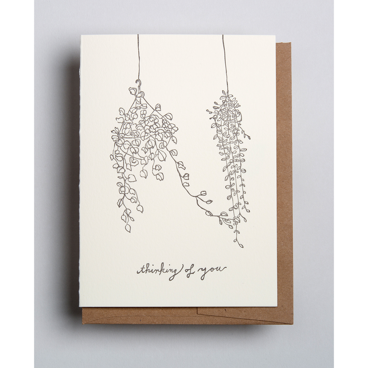 thinking of you hanging plants card