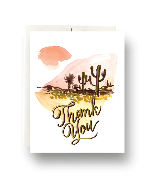 abstract cactus thank you card - single or set of 6