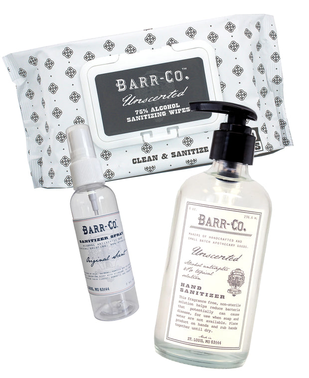 Barr-Co. hand sanitizer and disinfectant wipes gift set