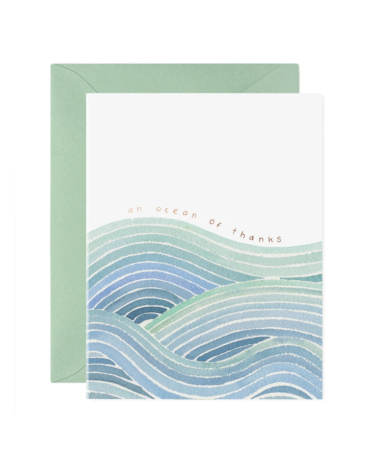 ocean of thanks card - single or set of 6