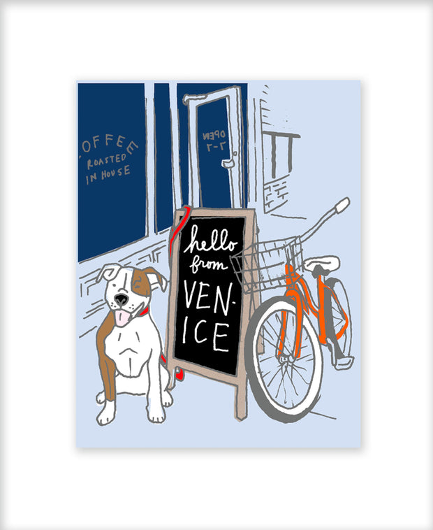 venice coffee shop greeting card