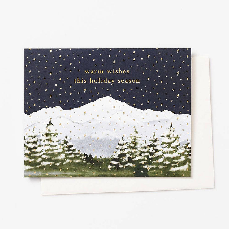 warm wishes mountain scene card - single or set of 10